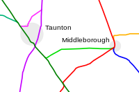 Railroads in Middleborough and Taunton as originally built. The Fall River Railroad is red, the Cape Cod Railroad blue, the Middleborough & Taunton Branch lime green, and the Plymouth & Middleborough Railroad orange.