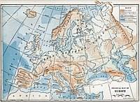 1916 physical map of Europe