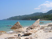 The coast of Europe is heavily indented with bays and gulfs, as here in Greece.
