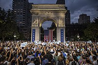 A crowd of 20,000 attended Warren's rally in Washington Square Park