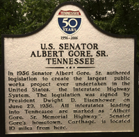Plaque honoring Al Gore Sr. at a rest area along Interstate 40 in Tennessee