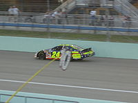 Casey Mears racing in the 2007 Ford 300 at the Homestead-Miami Speedway.
