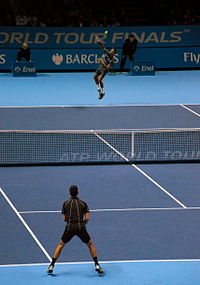 Djokovic and Federer at the 2013 ATP World Tour Finals