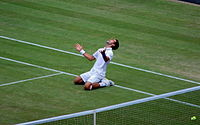 Djokovic celebrates upon defeating Jo-Wilfried Tsonga and clinching the world No. 1 ranking following his victory in the semi-finals of the 2011 Wimbledon Championships.