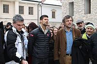 Djokovic with Emir Kusturica in Andrićgrad in January 2014, where he received Key to the City