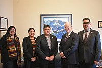 February 29, 2020: Tom O'Halleran (second from right), a Democratic representative from AZ-01, meets with the Navajo Nation Housing Authority. Navajo voters pushed Biden over the edge in the state of Arizona as well as O'Halleran in the concurrent House of Representatives elections.