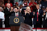 February 19, 2020: (from left) Speaker of the Arizona House Russell Bowers, Governor Doug Ducey, Congresswoman Debbie Lesko, and President Trump at a rally at Arizona Veterans Memorial Coliseum in Phoenix.
