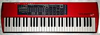 """The NordElectro2 reproduces the sound of the Hammond organ and several other electromechanical instruments. Unlike most """"clonewheel"""" instruments, the Nord does not have sliding drawbars. Instead, the player presses buttons which light up a row of LEDs to indicate the drawbar setting."""