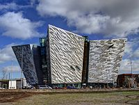Titanic Belfast museum on the former shipyard in Belfast where the RMS Titanic was built
