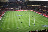 Millennium Stadium, Cardiff, Wales prior to a Wales vs England Six Nations Championship game. The annual rugby union tournament (which includes Scotland and Ireland) takes place over six weeks from late January/early February to mid March.