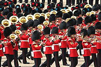 """The Grenadier Guards band playing """"The British Grenadiers"""" at Trooping the Colour. Formed in 1685 the band performs at British ceremonial events."""