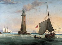 Smeaton's Eddystone Lighthouse, 9 miles out to sea. John Smeaton pioneered hydraulic lime in concrete which led to the development of Portland cement in England and thus modern concrete.