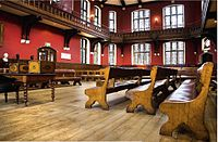 """The Oxford Union debate chamber. Called the """"world's most prestigious debating society"""", the Oxford Union has hosted leaders and celebrities."""