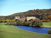 One of the UK's many stately homes, Chatsworth House in Derbyshire, surrounded by an English garden. The house is one of the settings of Jane Austen's novel Pride and Prejudice.