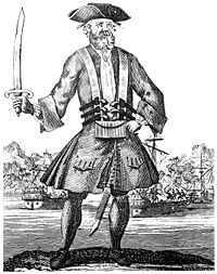 Engraving of the English pirate Blackbeard from the 1724 book A General History of the Pyrates. The book is the prime source for many famous pirates of the Golden Age.