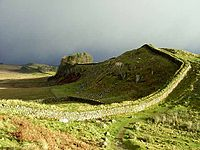 Hadrian's Wall was built in the 2nd century AD. It is a lasting monument from Roman Britain. It is the largest Roman artefact in existence.