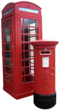 The red telephone box and Royal Mail red post box appear throughout the UK.