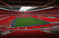 Wembley Stadium, London, home of the England football team and FA Cup finals. Wembley also hosts concerts: Adele's 28 June 2017 concert was attended by 98,000 fans, a stadium record for a music event in the UK.