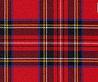The Royal Stewart tartan. It is also the personal tartan of Queen Elizabeth II Tartan is used in clothing, such as skirts and scarves, and has also appeared on tins of Scottish shortbread.