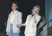 """Performing """"To Me"""" duet with DoRite Dan Schafer, 'Moments' tour (1986)"""