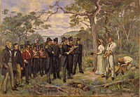 The Foundation of Perth 1829 by George Pitt Morison is an historical reconstruction of the official ceremony by which Perth was founded, although not everyone depicted may have actually been present.
