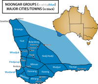 The area of Perth contains the Whadjuk people, who are one of several groups in south-western Western Australia which make up the Noongar people.