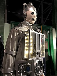 """A """"primitive"""" Cyberman, on display at a Doctor Who exhibition"""