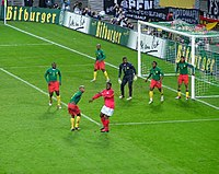 Cameroon faces Germany at Zentralstadion in Leipzig, 17 November 2004.