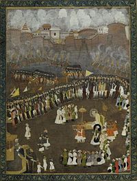 Aurangzeb leads the Mughal Army during the Battle of Satara.