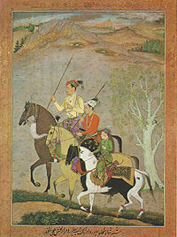 A painting from c. 1637 shows the brothers (left to right) Shah Shuja, Aurangzeb and Murad Baksh in their younger years.