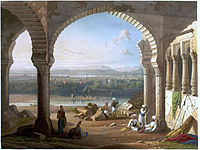 Sepoys loyal to the Mughal Emperor Aurangzeb maintain their positions around the palace, at Aurangabad, in 1658.