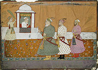 Aurangzeb in a pavilion with three courtiers below.