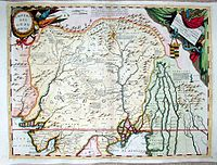 Map of the Mughal Empire by Vincenzo Coronelli (1650–1718) of Venice, who served as Royal Geographer to Louis XIV of France.