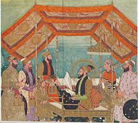 Aurangzeb seated on a golden throne holding a Hawk in the Durbar. Standing before him is his son, Azam Shah.
