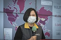 The CDC and WHO advise that masks reduce the spread of coronavirus. Taiwan President Tsai Ing-wen pictured.