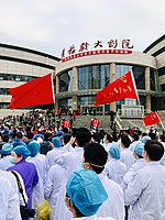 Chinese medics in the city of Huanggang, Hubei on 20 March 2020