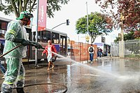 Disinfection of public area in Itapevi, Brazil.