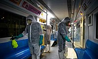 Disinfection of Tehran Metro trains against coronavirus. Similar measures have also been taken in other countries.