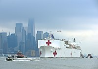 The hospital ship USNS Comfort arrives in Manhattan on 30 March 2020.