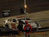 Wise's wrecked car at the 2015 Food City 500