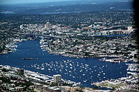 Boats gather on Lake Union in preparation for the July 4 fireworks show