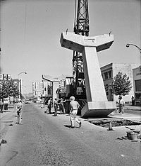 Building the Seattle Center Monorail, 1961 (looking north up Fifth Avenue from Virginia Street)