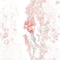 Map of racial distribution in Seattle, 2010 U.S. Census. Each dot is 25 people: White, Black, Asian Hispanic , or Other (yellow)