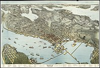 Bird's-eye view of Seattle and King County from 1891