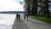 An attraction of Green Lake Park is a 2.8 mi trail around the lake.