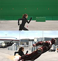 Original (top) and postvisualization (bottom) shots of the fight scene at Leipzig/Halle Airport