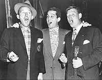 Flanked by Bing Crosby and Arthur Godfrey (1950)