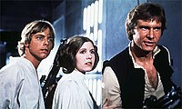 From left to right: Luke Skywalker (Hamill), Princess Leia (Fisher), and Han Solo (Ford)