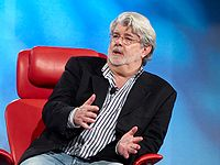"""Director/writer George Lucas describing to a 2007 audience the difficulty of pitching Star Wars, being turned down repeatedly, until 20th Century-Fox bought the idea for """"a little strange"""" film."""