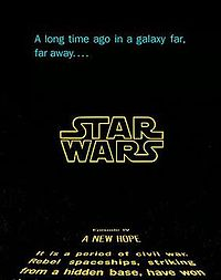 """Introductory graphics for the film that, with similararity to the other films in the Skywalker Saga, feature Suzy Rice's Star Wars logotype and that, in the film's cinematic releases from 1981, feature the texts """"Episode IV"""" and """"A New Hope"""" at the head of the opening crawl."""